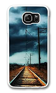 VUTTOO Rugged Samsung Galaxy S6 Case, Countryside Railway Storm Hardshell Case for Samsung Galaxy S6 PC Transparent
