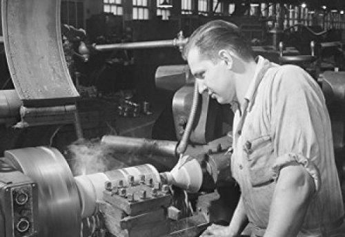 High speed turning on a turret lathe. Worthington Pump & Machinery Corp. Harrison, New Jersey. Poster Print (18 x 24)