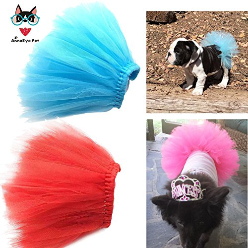 AnnaEye Pet Costume Dog Clothes Apparel Handcrafted Tulle Skirt Puppy Doggy Tutu Dress Blue&Red (Cat Tutu)