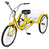 Happybuy Adult Tricycle Single 7 Speed Three Wheel Bike Cruise Bike 24 Inch Seat Adjustable Trike with Bell Brake System and Basket Cruiser Bicycles Size for Shopping (24inch, Yellow 6 Speed)