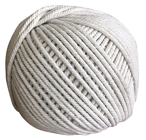 Macrame Cord 4mm X 100m (109 yd) Natural Virgin Cotton Handmade Decorations Macrame Wall Hangings Plant Hanger Knitting Crocheting Bohemia Dream Catcher DIY Craft | un-dyed Natural Beige Craft Rope -