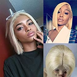 "Zhangxiuzhu Hair Short Bob Straight Wig Human Hair #613 Blonde Color 8"" Short Brazilian Hair Glueless Full Lace Wigs with Baby Hair Natural Hairline Glueless Front Lace Bob Wig"