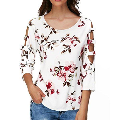VEZAD Flower Print O-Neck Cutout Hollow Out Sleeve T Shirt Women Casual Tops -