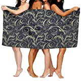 Chu warm Beach Towel Whirly Spiral Damask Unique Microfiber Absorbent Print Towel Pool