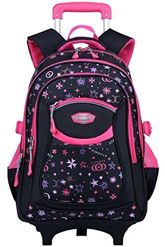 Rolling Backpack, Coofit Wheeled Backpack School Kids Rolling Backpack With Wheels (Coofit Originally Design Rosy)