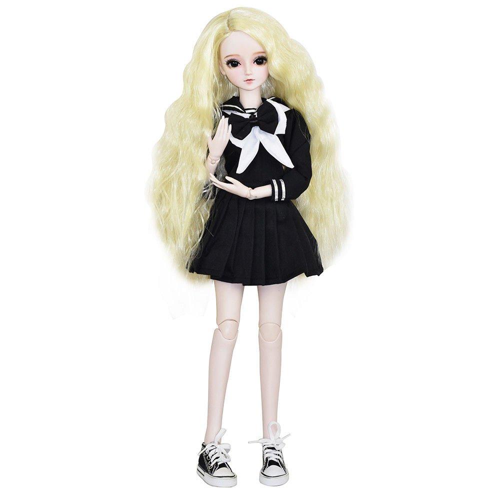 School Girl Alyssa 1/3 SD Doll 24'' jointed Gift BJD Doll +Makeup +Full Set Lovers' Gift