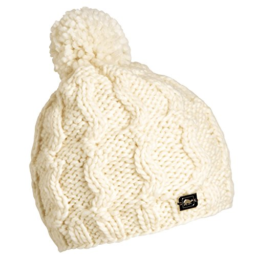 Heavyweight Knit Cap - Turtle Fur Puli Women's Heavyweight Wool Blend Hand Knit Pom Winter Hat White