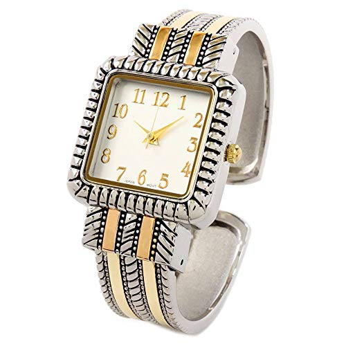 2Tone Western Style Decorated Square Face Women's Bangle Cuff - Western Watch Style Bangle