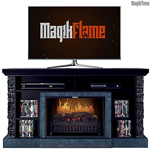 Brown Mahogany Electric Fireplace (MagikFlame Hades Caribbean Mahogany / Stacked Stone Media Center Electric Fireplace with Sound and Bluetooth (No Heater))