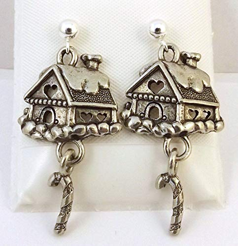 Pewter Gingerbread House Charms on Sterling Silver Ball Post Stud Earrings -5270 for Jewelry Making Bracelet Necklace DIY Crafts ()