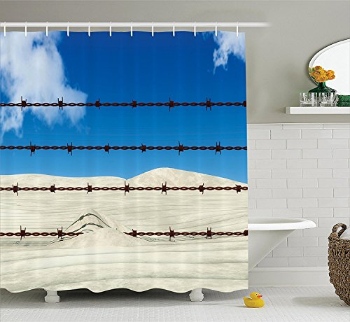 [Barbed Wire Decor Collection Rusty Barbed Wire over Sand Metal Army Security Guard Danger Illustration Image Polyester Fabric Bathroom Shower Curtain Set with Hooks Blue Ivory] (Danger Mouse Halloween Costume)