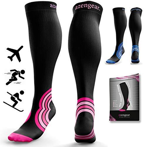 Compression Socks for Women & Men - 20-30 mmHg - Best Flight Compression Socks for Travel - DVT - Sports - Running - Skiing - Athletics - Nurses - Shin Splints - Pregnancy - Blood Circulation (Pair)
