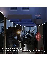 1byone - Alarma de seguridad para el hogar con 1 adaptador de CA y 1 receptor y 2 sensores de movimiento PIR, resistente a la intemperie, sistema de alerta por infrarrojos