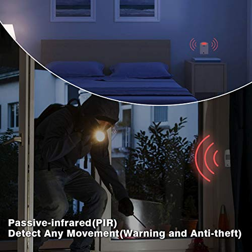 1byone Wireless Home Security Driveway Alarm with 1 AC Adapter & 1 Receiver & 2 PIR Motion Sensor Detector Weatherproof Patrol Infrared Alert System Kit