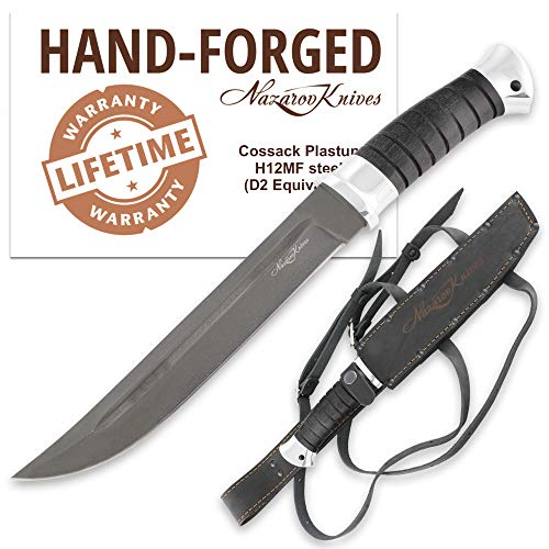 Fixed Blade Knife – Outdoor Knife – D2 Steel – Hornbeam – PLASTUN – Leather Sheath