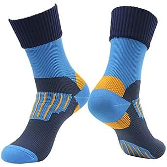 RANDY SUN Socks, Cycling Half Calf Elite Non Skid Mid-Length Waterproof Sock - Men's Blue
