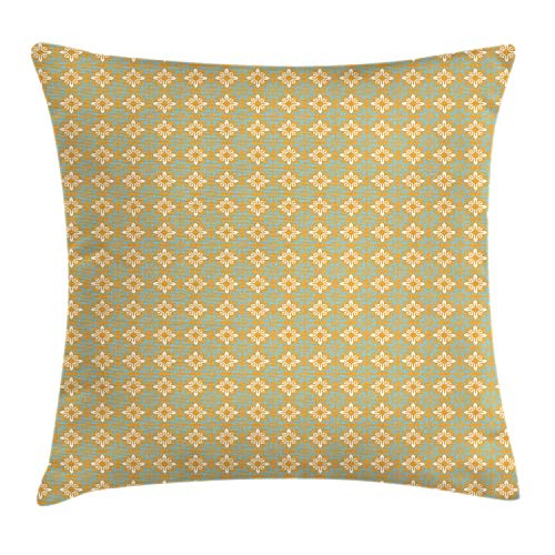 Ambesonne Moroccan Throw Pillow Cushion Cover, Continuous Floral Inspired South European Artsy Pattern, Decorative Square Accent Pillow Case, 26 X 26 Inches, Apricot Off White and Pale Blue Grey
