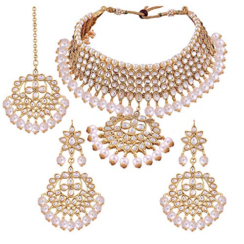 Aheli Kundan and Pearls Necklace Earrings Maang Tikka Set Indian Traditional Ethnic Engagement Wedding Party Designer Jewelry for Women