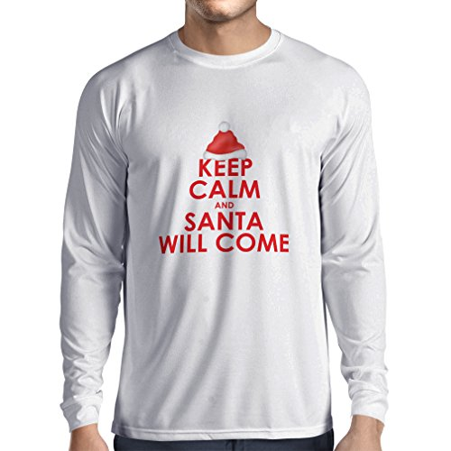 lepni.me Long Sleeve t Shirt Men Keep Calm and Santa Will Come, Holiday Clothes and Christmas Vacation Outfits (XX-Large White Multi Color)]()