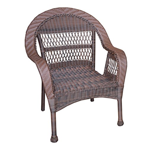 Oakland Living AZ9999-CHAIR-CF Traditional Outdoor and Indoor Stackable All Weather Resin Dark Brown and Black Wicker Patio Chair with Aluminum Frame, Medium, Coffee
