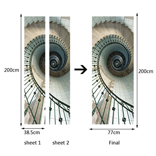 Fymural Spiral Staircase Wall Mural Door Wallpaper Stickers for Home Decoration Vinyl Removable 3D Decals 30.3x78.7