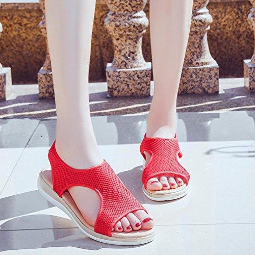 Sandalen Sommer Sandalen Mode Rom Stiefel Skidding Anti Damen Damen Sandalen Strandschuhe Fläche Sandalen Ferse Rot Leder Frauen Binggong Damenschuhe Atmungsaktive rqrAf6P