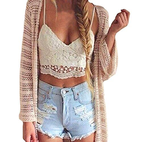ROPALIA Women Crochet Lace Bralette Knit Bra Boho Beach Bikini Halter Tank Top, White 01, US 6/Tag M