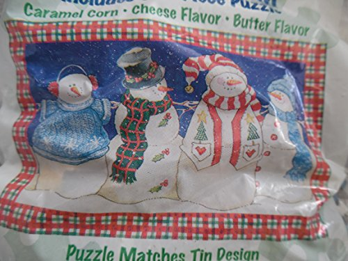 Houstan Harvest Popcorn Tin Puzzle Snowman Scene 500 Piece Puzzle