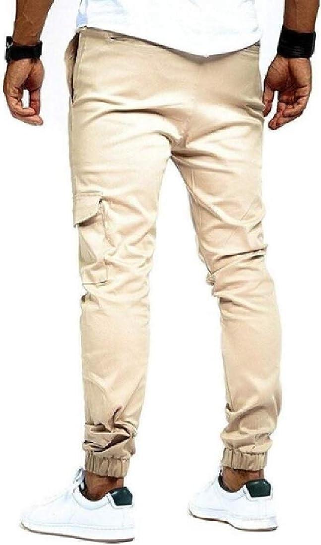 Jotebriyo Mens Multi-Pockets Lace-Up Outdoor Pure Color Casual Cargo Jogger Pants Sweatpants