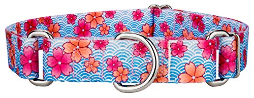 Country Brook Design Pink April Blossoms Martingale Dog Collar - Large