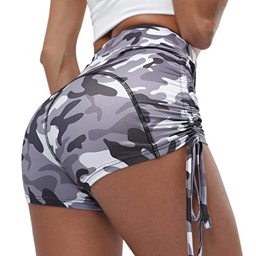 lumiyo Women's Sport Fitness Gym Stretchy High Waisted Ruched Butt Lifting Workout Running Yoga Shorts (L, Camouflage Gray)