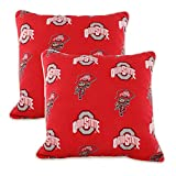 College Covers OHIODPPR Ohio State Buckeyes Outdoor Decorative Pillow Pair, 16'' x 16'', Red