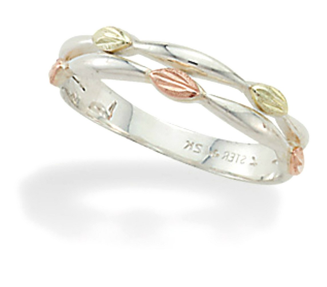 Petite Leaves Ring, Sterling Silver, 12k Gold Pink and Green Gold Black Hills Gold Motif, Size 6