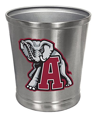 Round Stainless Steel Finish Trash Can Waste Basket Featuring Your Favorite Sports Theme or Team Logo Decal (Alabama Elephant)
