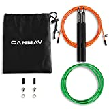 CANWAY Speed Jump Rope - 360° Swivel Ball Bearing - Adjustable - Rope Crossfit - Skipping Ropes for Weight-Loss & Boxing MMA Cardio Fitness Training - Anti-Slip Handles - Dual Durable Cables