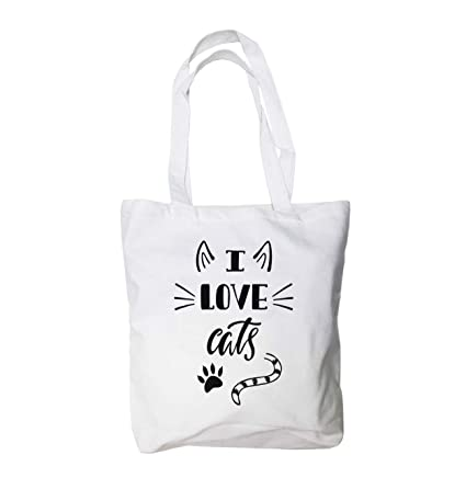 e57639ab5025 Love Cat Large Canvas Tote Bag - Cat Lovers Gift for Women - 100% Natural  Cotton - Heavy Duty - Ideal Groceries, School, Shopping or Cat Toys - ...