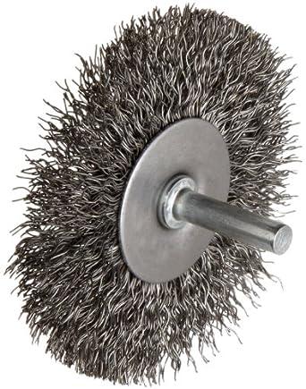 "Weiler Wire Radial Wheel Brush, Round Shank, Steel, Crimped Wire, 3"" Diameter, 0.014"" Wire Diameter, 1/4"" Shank, 13/16"" Bristle Length, 20000 rpm"