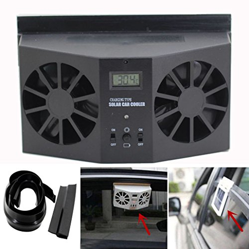 Solar Dual Fan Car Front / Rear Window Air Vent Cool Cooler Fan Windshield Fan (Black)