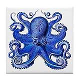 CafePress - Blue Octopus - Tile Coaster, Drink Coaster, Small Trivet