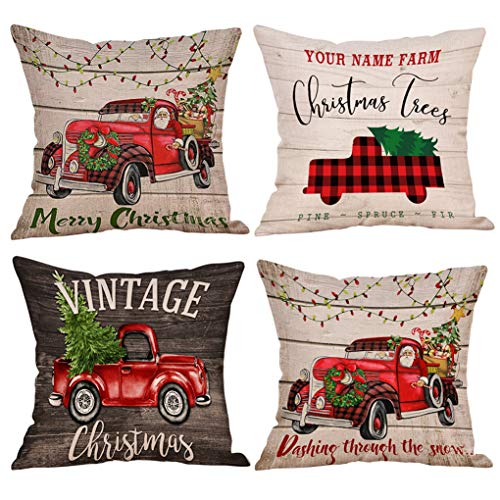KACOPOL Christmas Tree and Red Car Throw Pillow Cover Vintage Red Truck Farmhouse Home Decor Cotton Linen Pillow Case Cushion Covers for Sofa 18 x 18 Christmas Decorations Set of 4 (Vintage Truck)