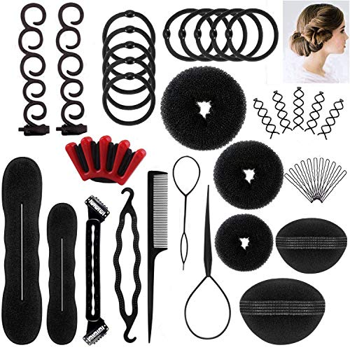 DELOVE- Hair Styling Set, Fashion Hair Design Styling Tools Accessories DIY Hair Accessories Hair Modelling Tool Kit Hairdress Kit Set Magic Simple Fast Spiral Hair Braid Hair by DELOVE