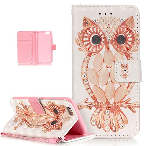"Price comparison product image iPhone 6S Plus Case,iPhone 6 Plus Case,ikasus Glitter Diamond Colorful Painted PU Leather Flip Wallet Pouch Stand Credit Card ID Holders Case Cover for Apple iPhone 6/6S Plus (5.5""),Jewelry OWL"