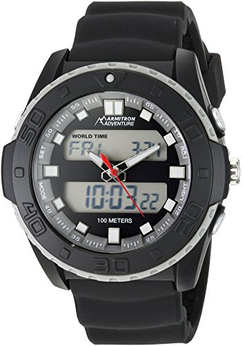 Mens Multifunction Analog - Armitron Adventure Men's AD/1009BLK Analog-Digital Chronograph Multi-Function Black Silicone Strap Sport Watch