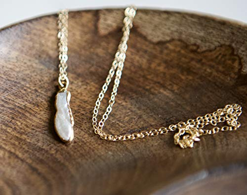Biwa White Pearl Gold Filled Necklace - 16