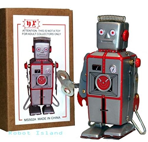 tin toys new collector wind up metal classic antique robot silver red ()