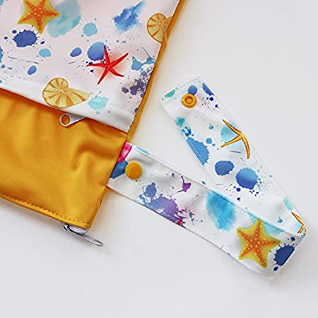 Grab and Go Waterproof Washable Reusable Diaper Wet Dry Cloth Diaper Bags Zipper Bag,Lovely Cloud