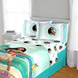 4 Piece Girls Blue Green Disney's Moana Movie Themed Sheet Full Set, Moana and Pua The Pig Fun Print, Natural Print, All Over Ocean Background, Pretty Character Palm Tree Reversible Bedding, Ployester