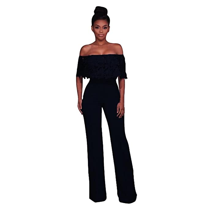 e0ca39e00f1c Image Unavailable. Image not available for. Color  Rambling Womens Sexy  Casual Bodycon Strappy Off Shoulder High Waisted Long Wide Leg Jumpsuits  Rompers
