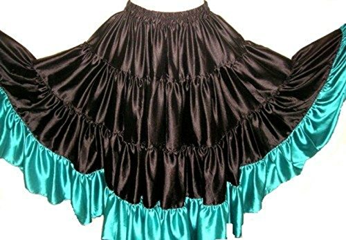 Luxuriöser Bordered Satin Flamenco Spanischer Tanz 25 Meter Tribal Gypsy Skirt (Black Turq)