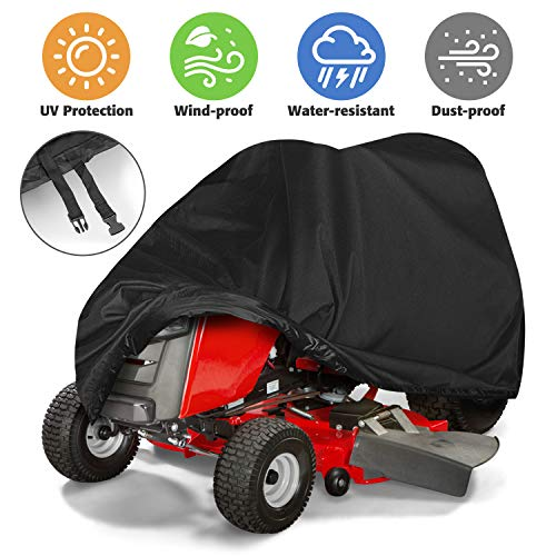 Tvird Premium Lawn Mower Cover, Tractor Cover by Riding Lawn Mower Cover Made with Durable Fabric | Features Double Stitched Seams & Interior Waterproof Coating | for Up to 54'' Decks